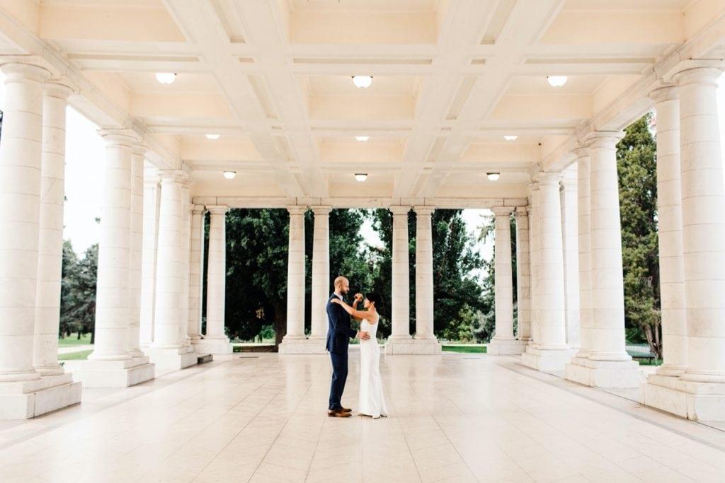 sunrise couples photos at Cheesman Park Pavilion before a small wedding at Denver Botanic Gardens