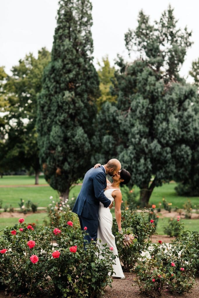 sunrise couples photos before a Denver Botanic Gardens wedding at Woodland Mosaic solarium
