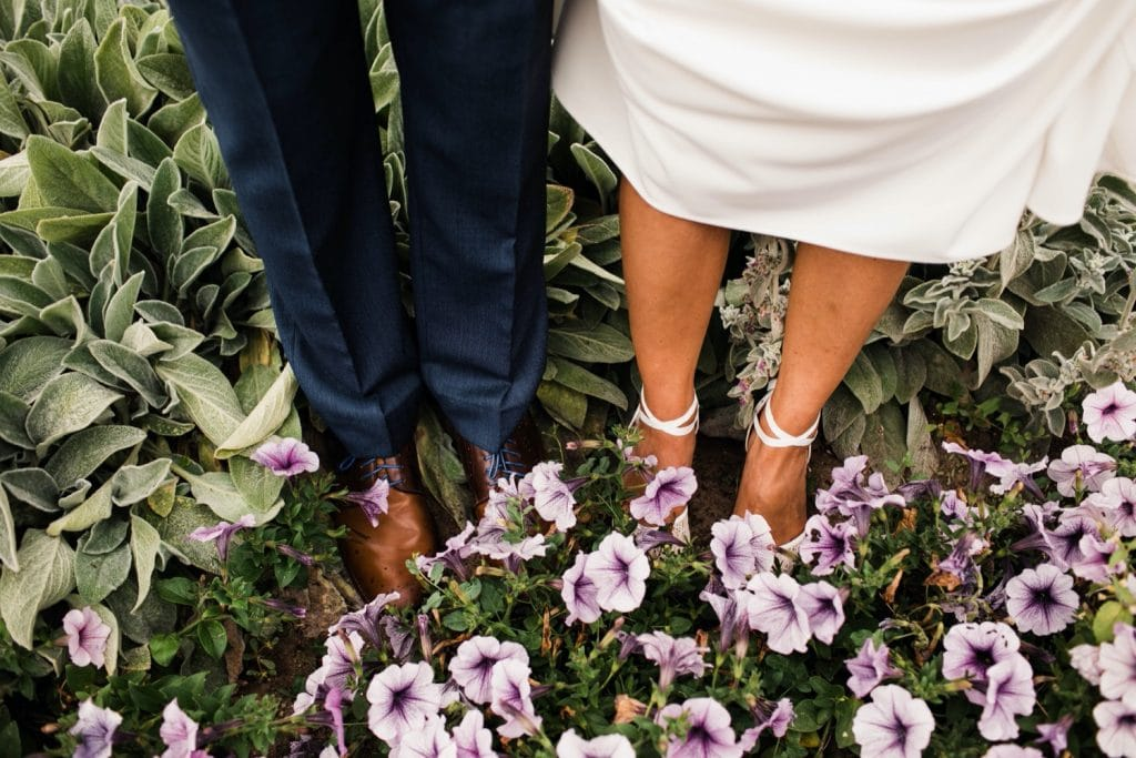 wedding photos at sunrise at Cheesman Pavilion before a wedding ceremony at Denver Botanic Gardens