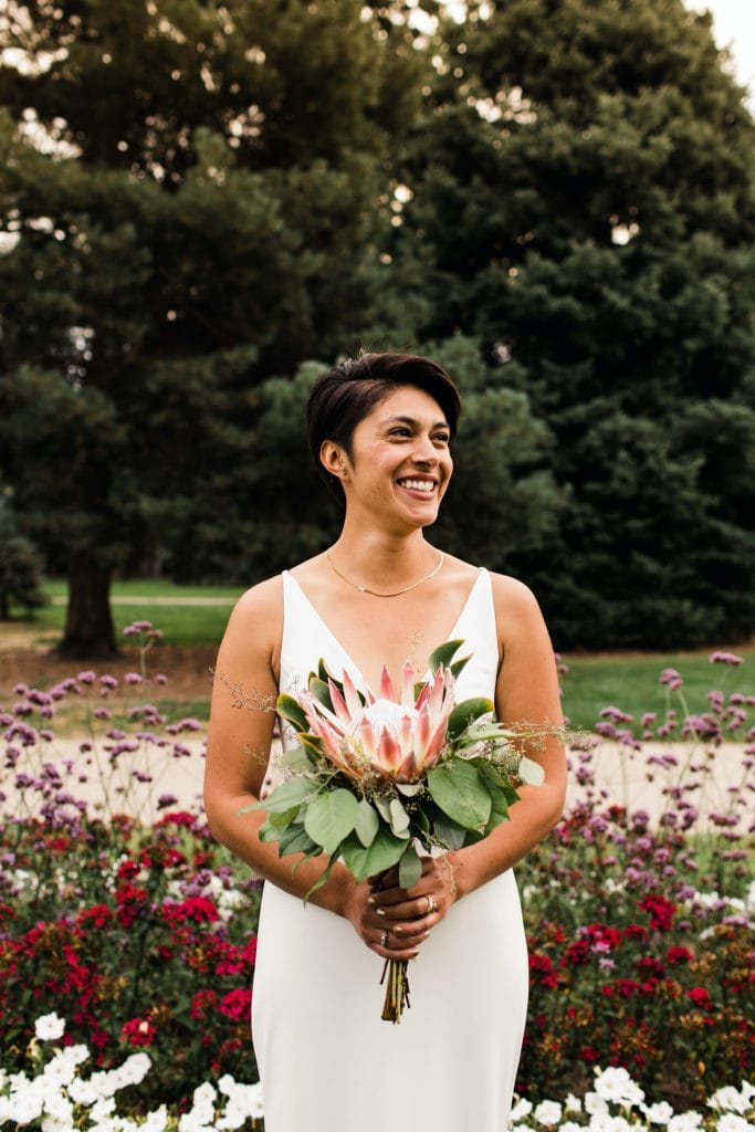 bridal photos outside Cheesman Park Pavilion