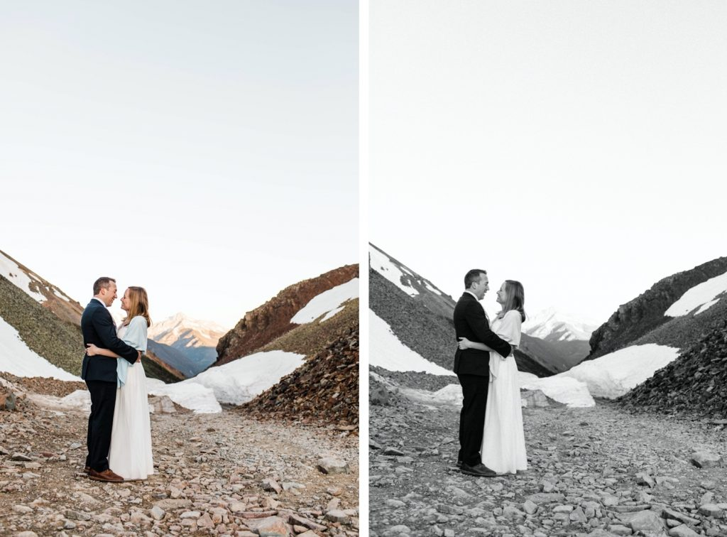 eloping couple sharing a kiss during their Telluride elopement