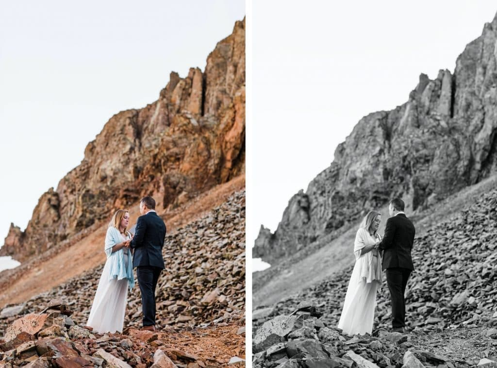 bride and groom sharing their vows during their Telluride elopement