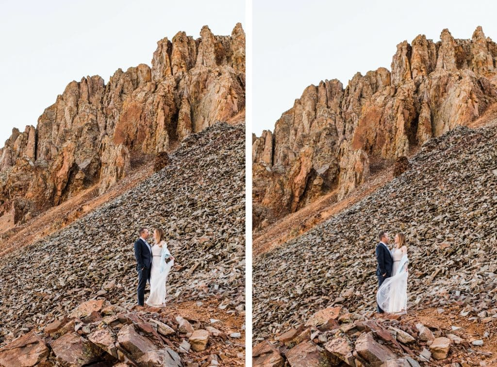 bride and groom sharing a kiss after saying their vows in Telluride Colorado