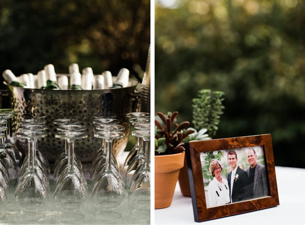 drinks for cocktail hour after a small wedding at Denver Botanic Gardens