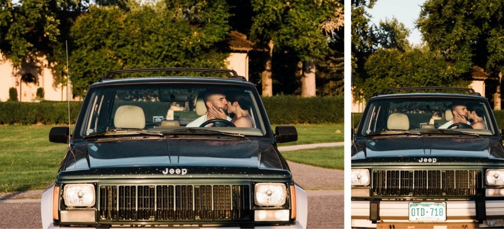couple hanging out in their Jeep after they got married at Denver Botanic Gardens