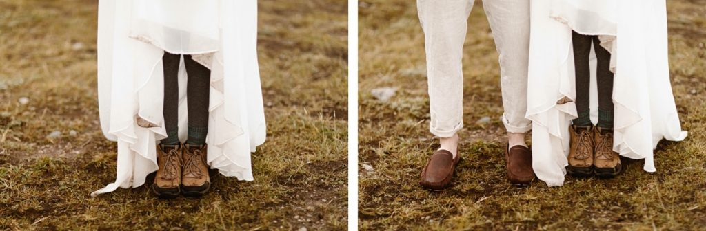 hiking shoes for a lake wedding in Colorado