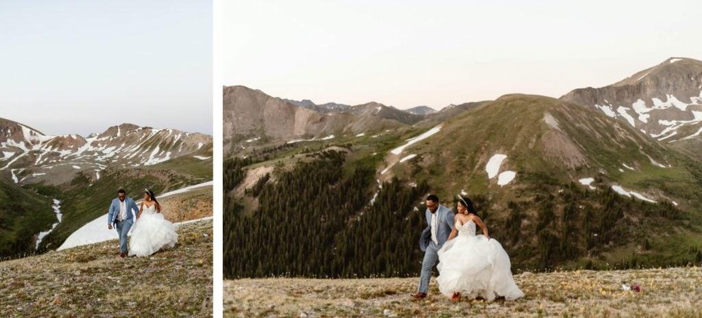couple running through the mountains before their Aspen Colorado elopement