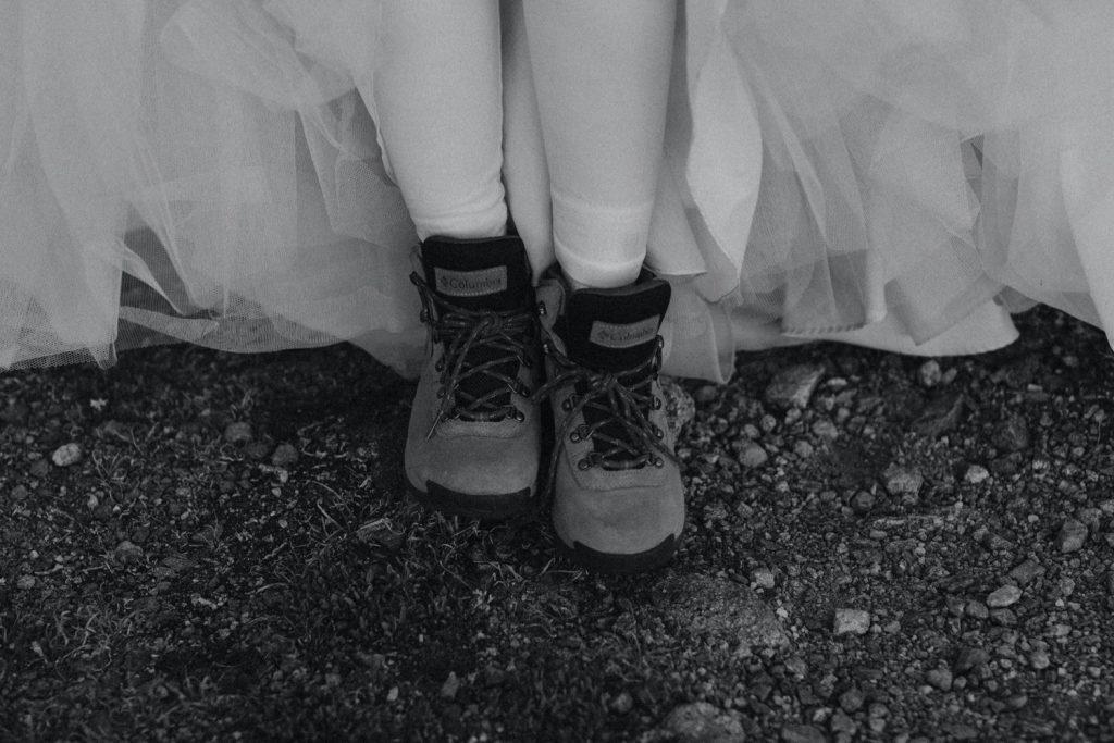 hiking boots for an Aspen Colorado elopement