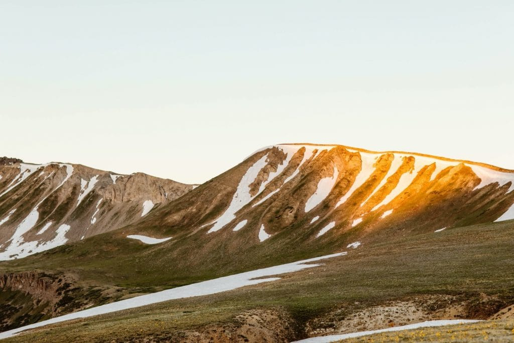 alpenglow on the mountains near Aspen Colorado
