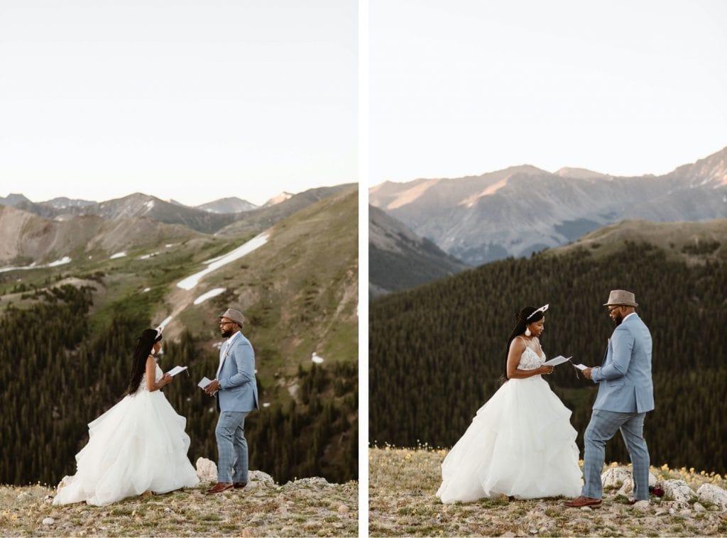 Aspen Colorado elopement ceremony at sunrise