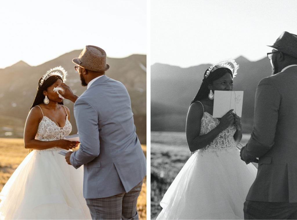 groom wiping away tears for bride during their Aspen elopement