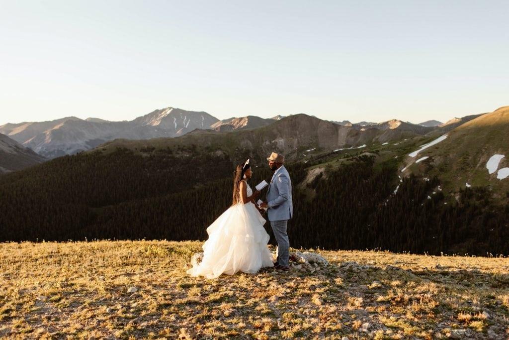 Aspen Colorado elopement vow reading