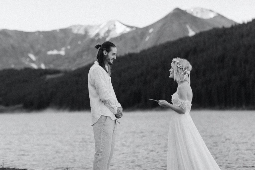 small lake wedding ceremony