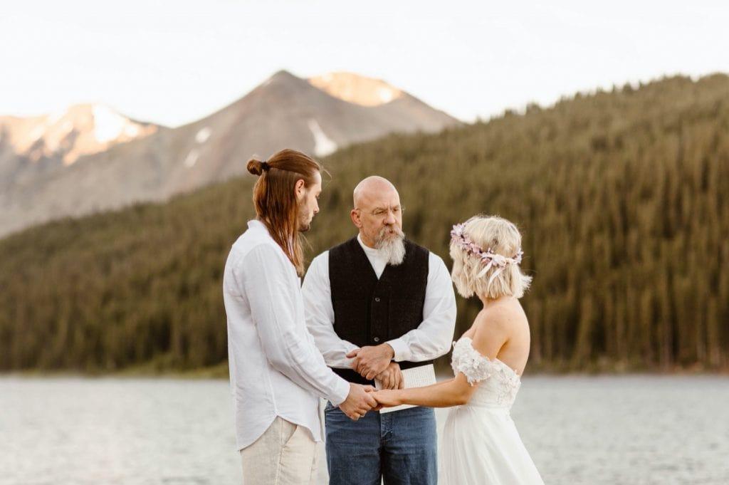 lake wedding ceremony in Colorado