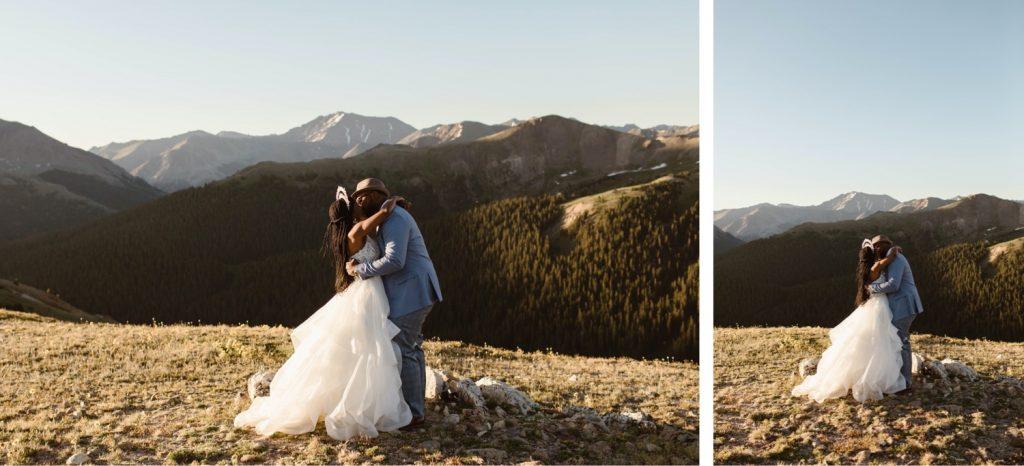Aspen Colorado elopement first kiss