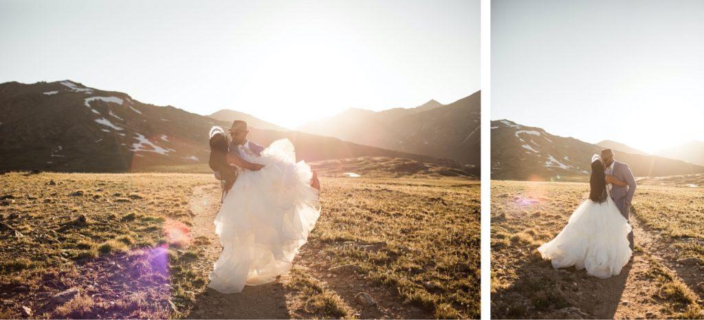 couple hiking through the mountains for their Aspen Colorado elopement