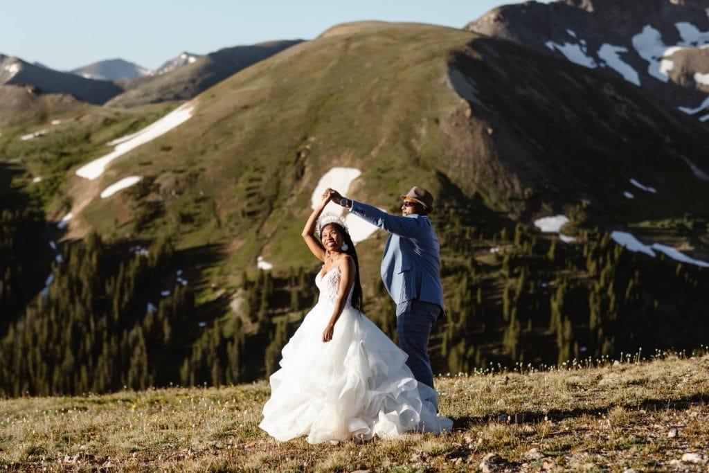 couple sharing their first dance during their Aspen elopement
