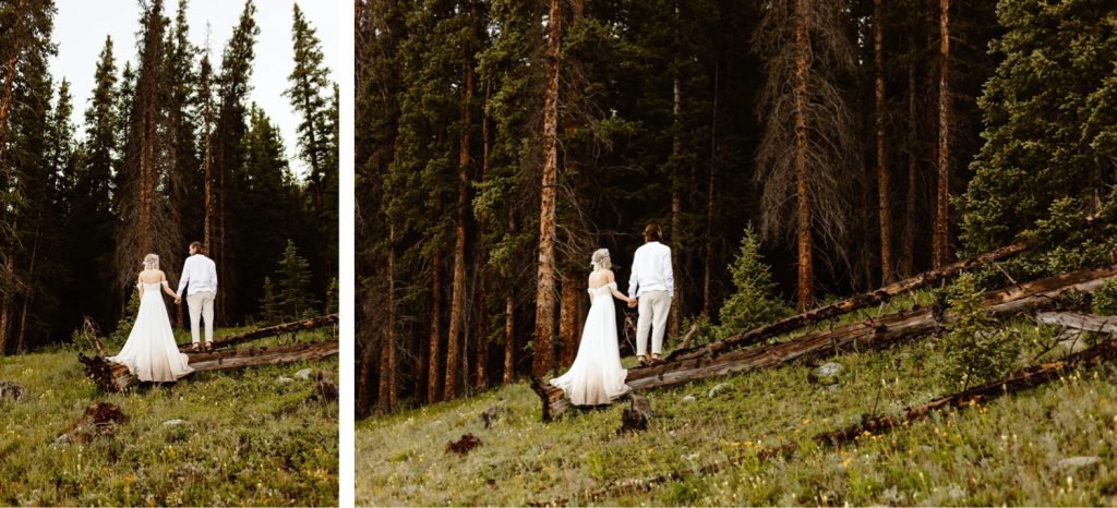 eloping couple in the woods after their small lake wedding in Colorado