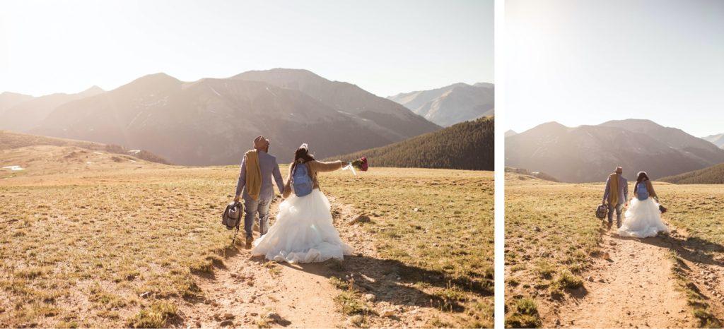 couple hiking down the mountain during their Aspen Colorado elopement