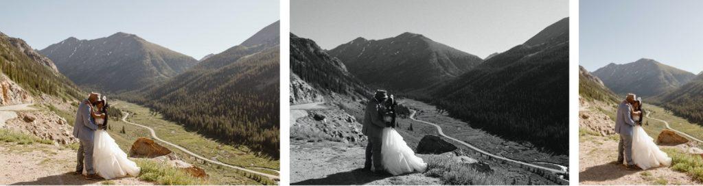 eloping couple on a mountain pass during their Aspen elopement