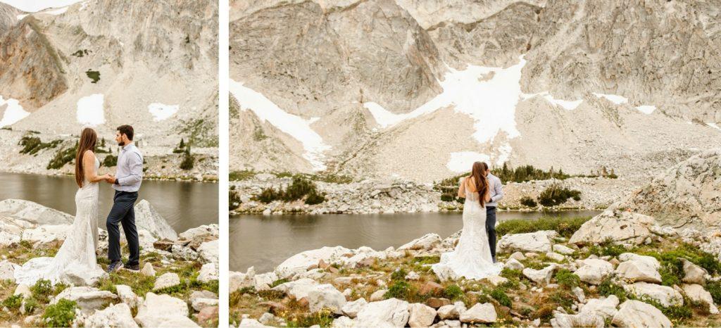 Snowy Range Wyoming elopement vow exchange ceremony