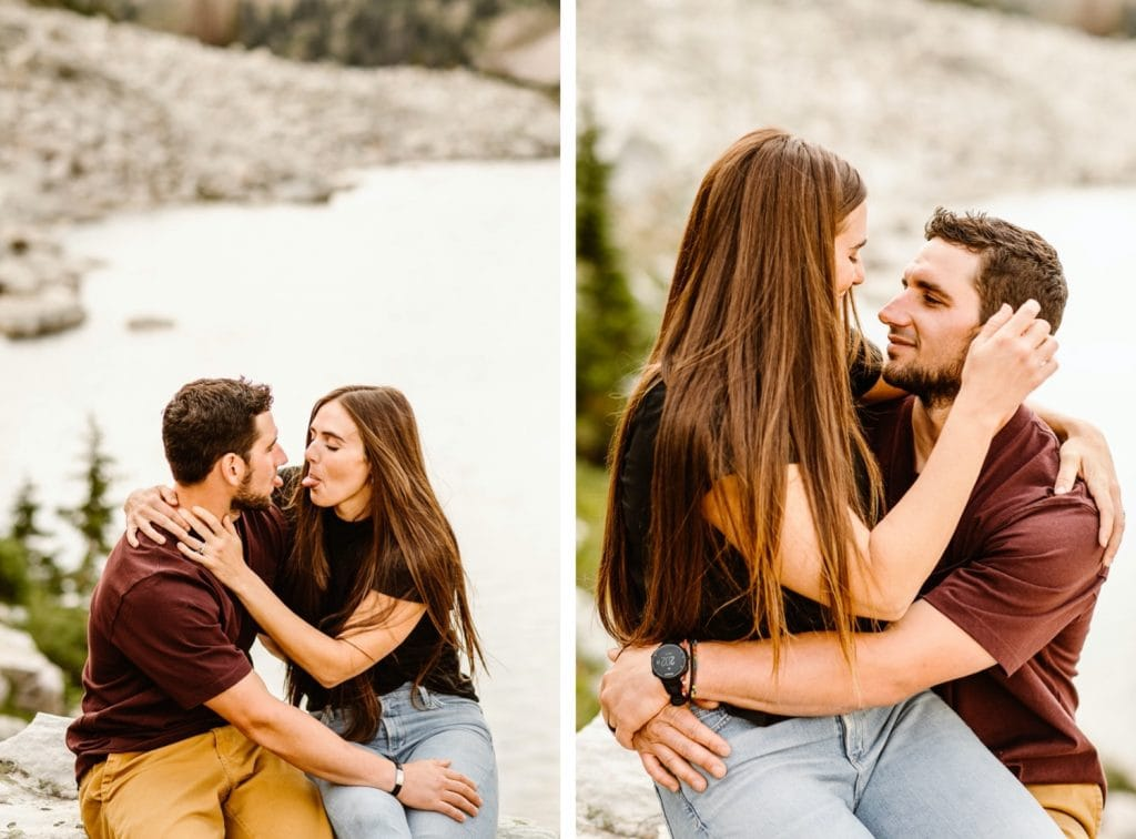 mountain engagement photos of a couple sitting by an alpine lake in Wyoming