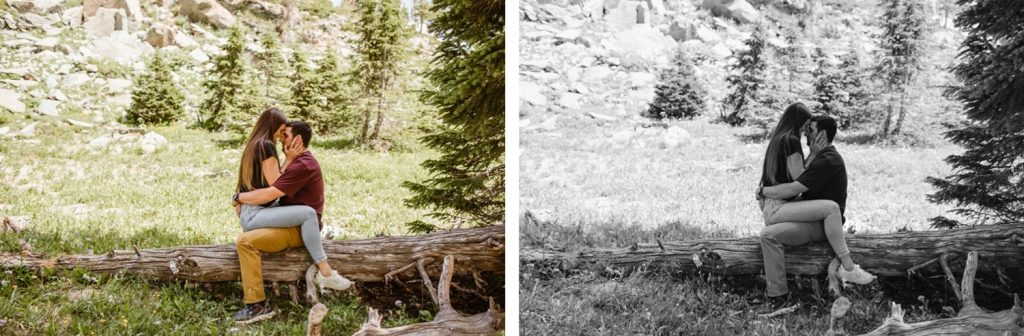 couple kissing in the forest in Wyoming