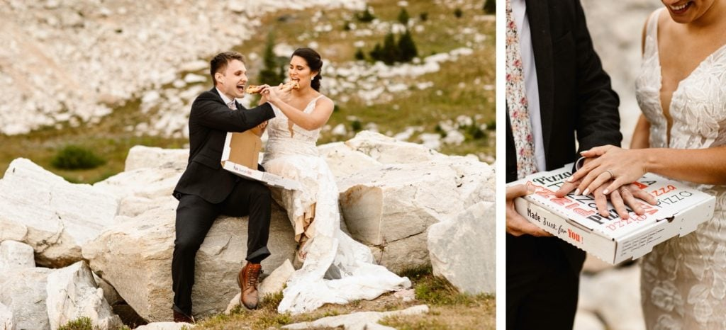 Wyoming wedding couple sharing a pizza picnic in the mountains