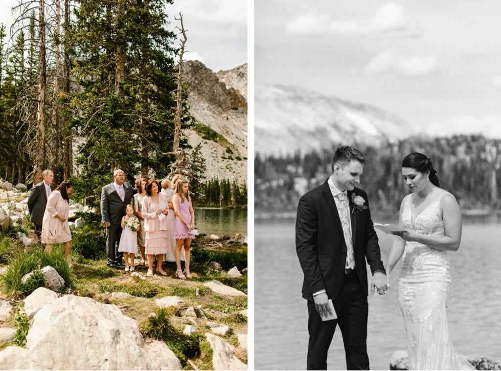 family attending a Wyoming wedding ceremony in the national forest