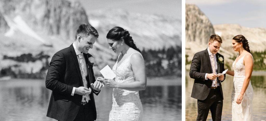 small Wyoming wedding ring exchange