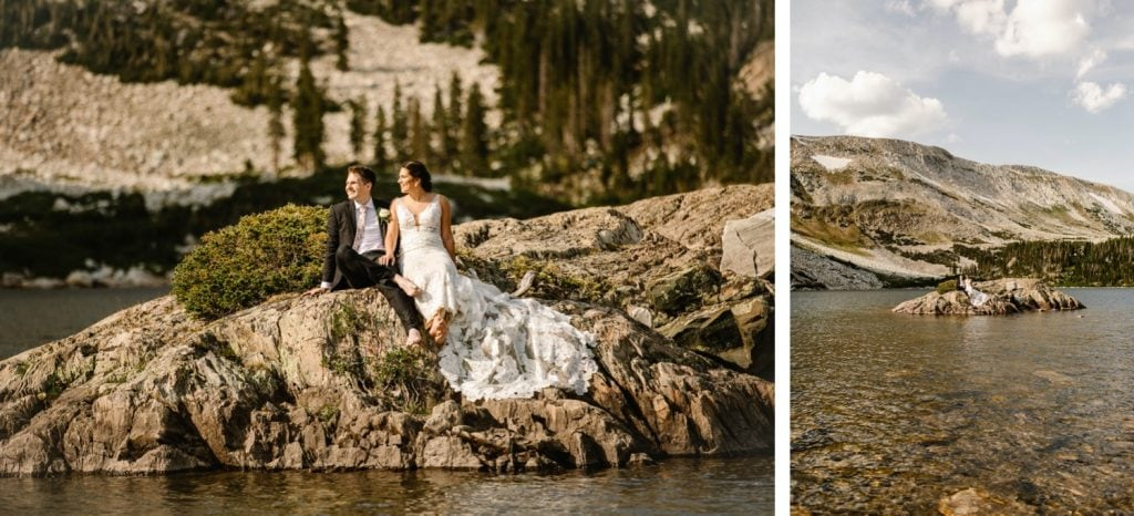 Wyoming wedding couple sitting on an island admiring the view