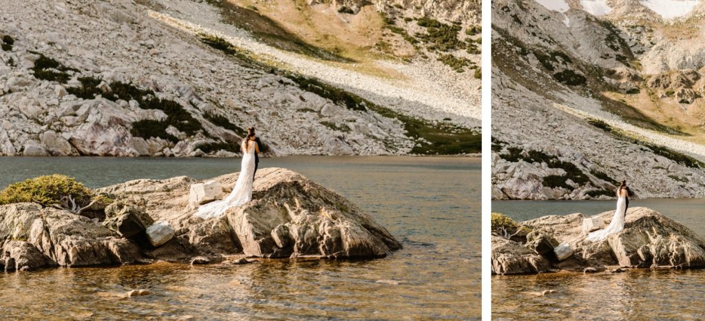newly married couple adventuring on an alpine lake island after their small Wyoming wedding