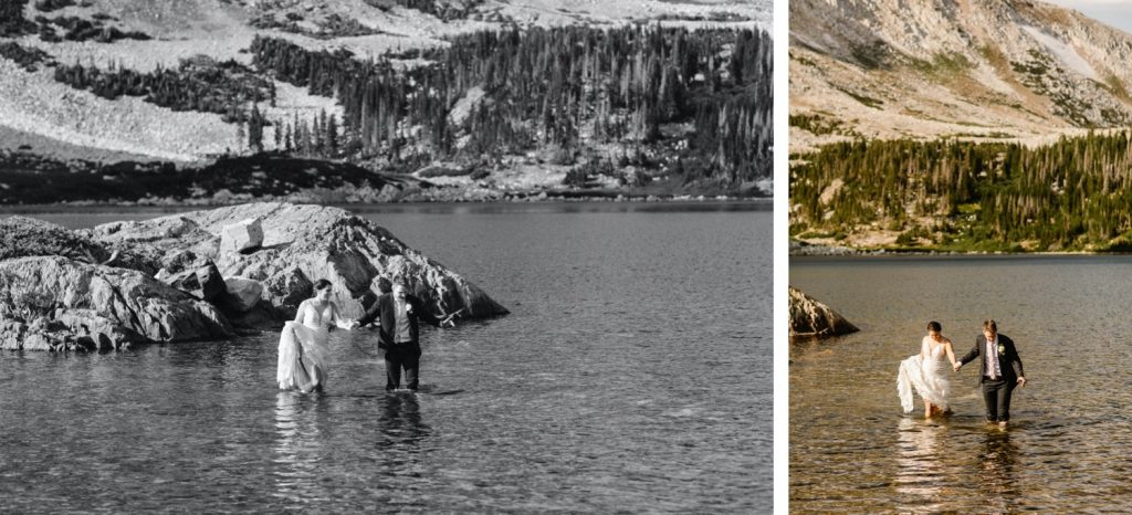 couple wading into an alpine lake after their Wyoming wedding ceremony