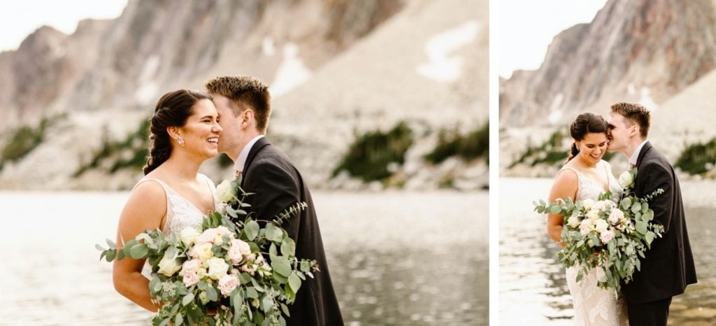 groom whispering jokes into bride's ear during their small Wyoming wedding
