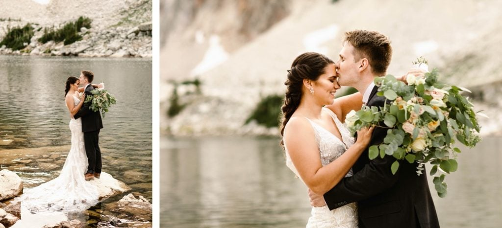 groom kissing bride's forehead during their small Wyoming wedding