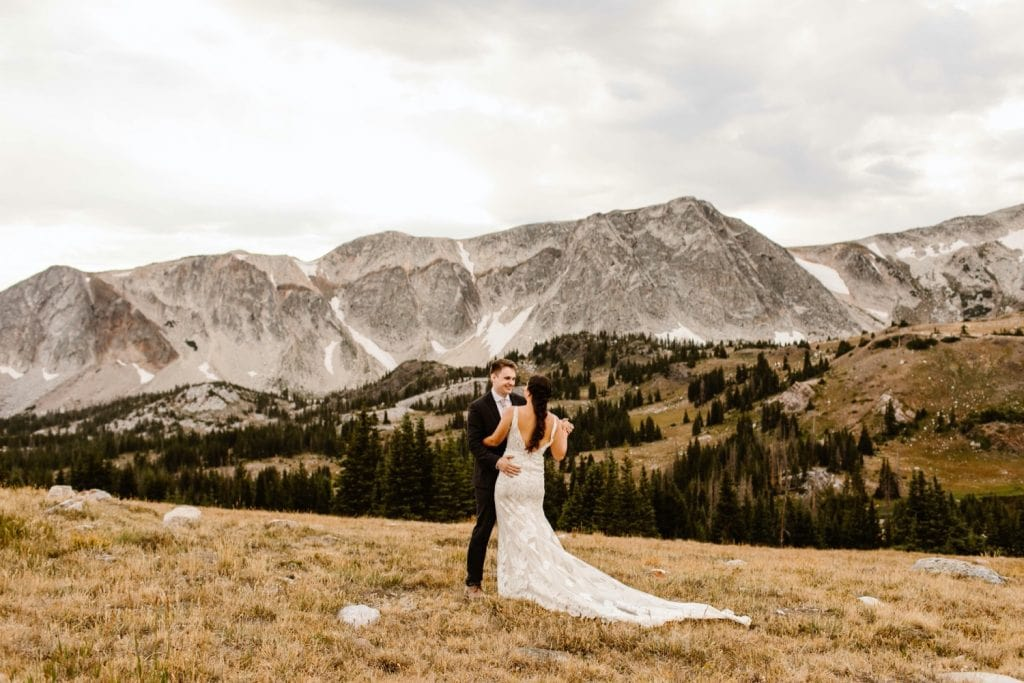Wyoming wedding couple sharing their first dance as a married couple