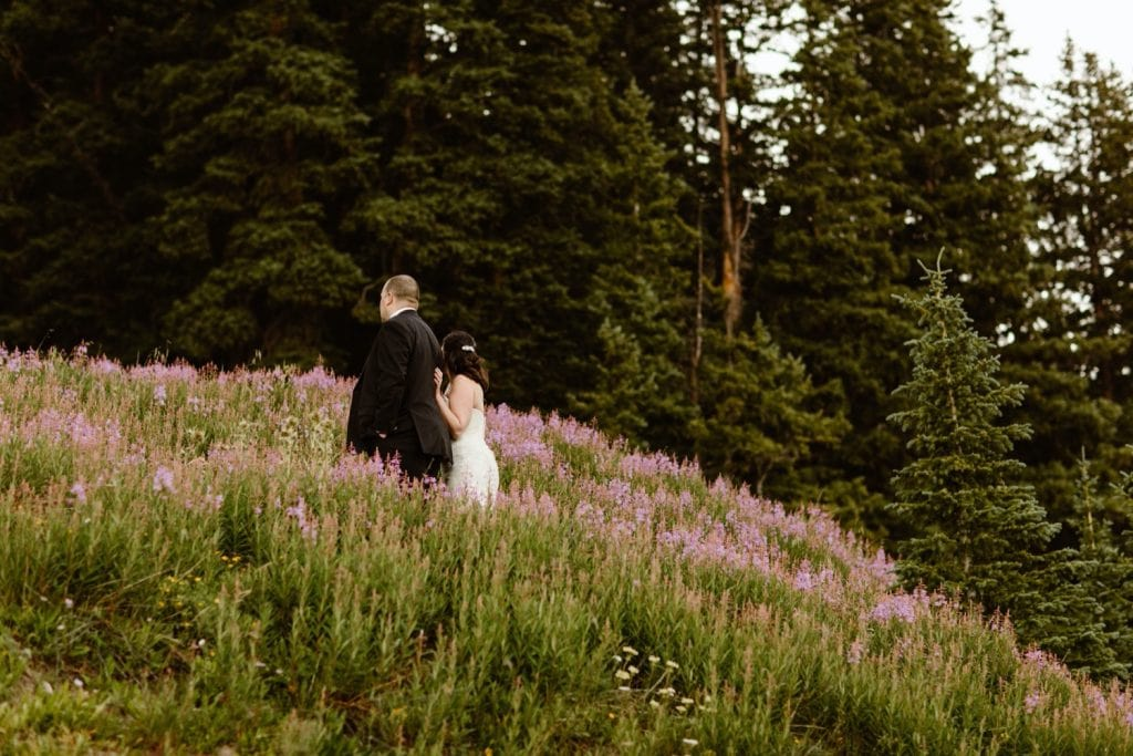 destination elopement photos in an alpine flower meadow