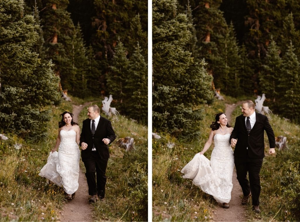 newly married couple running down the trail after they finished their destination elopement vows