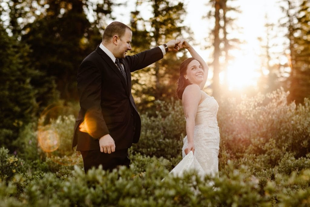 eloping couple dancing at sunrise after their destination elopement ceremony