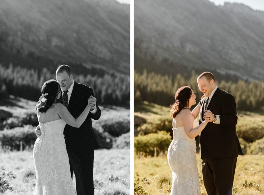 destination elopement first dance in a meadow