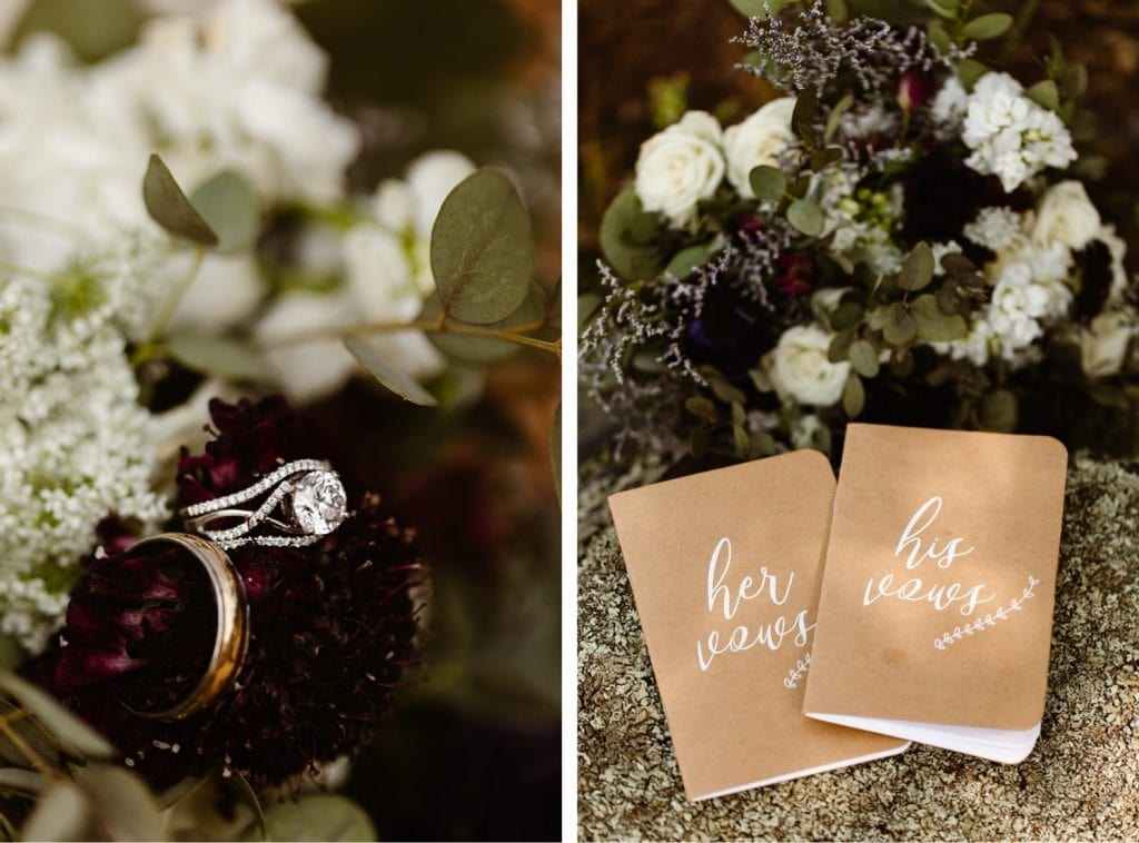 images of wedding ring in bouquet for a sunrise elopement
