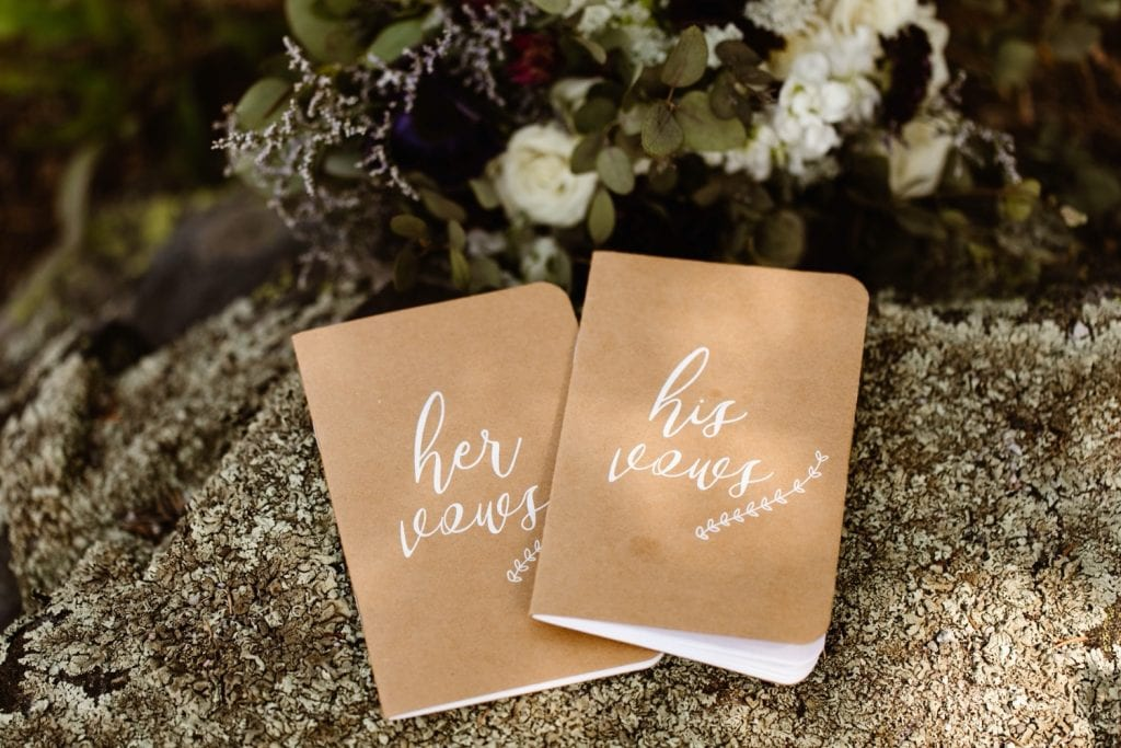 vow books for a sunrise elopement