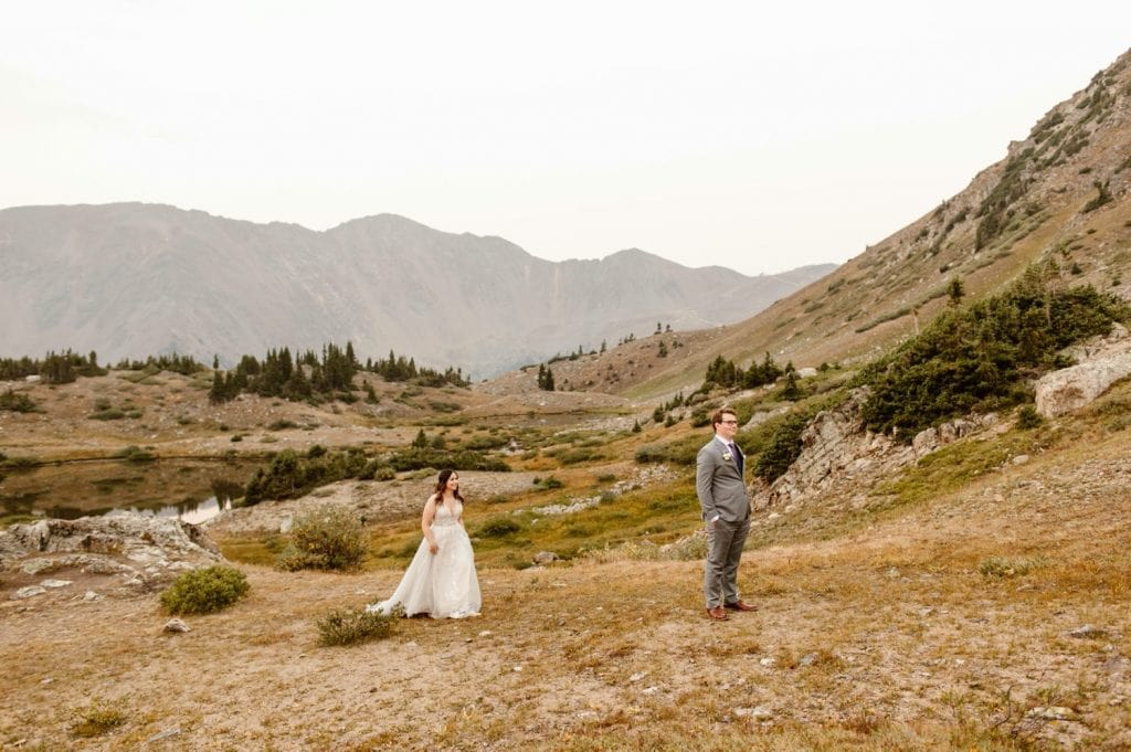 first look before a sunrise elopement near Keystone