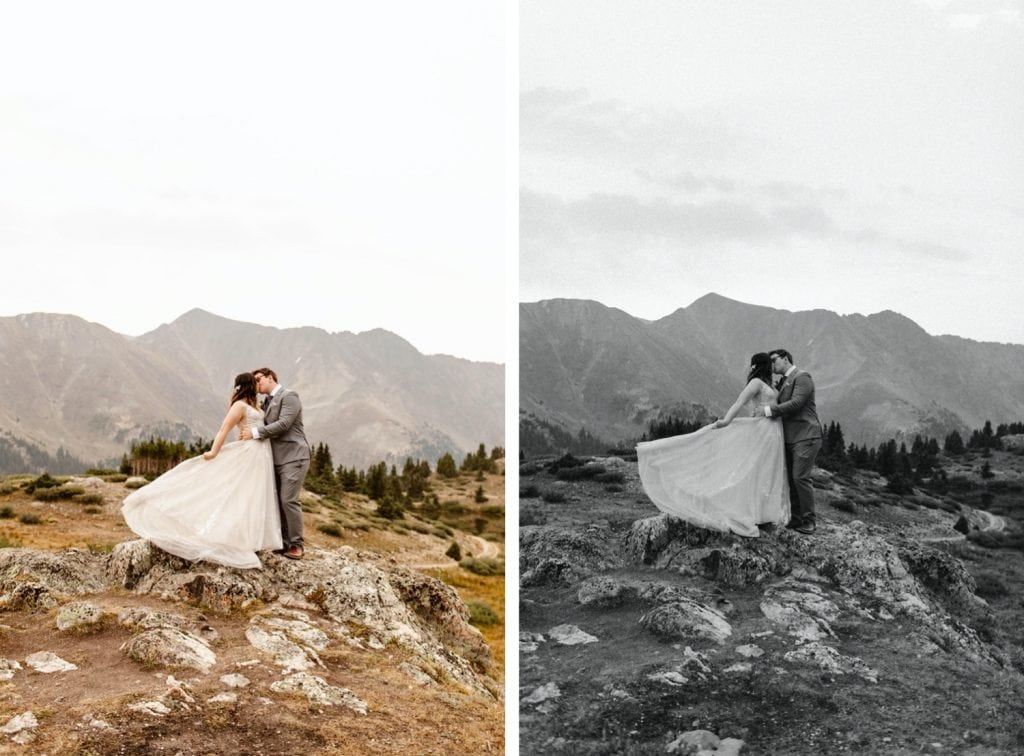 sunrise elopement photos on the top of a mountain