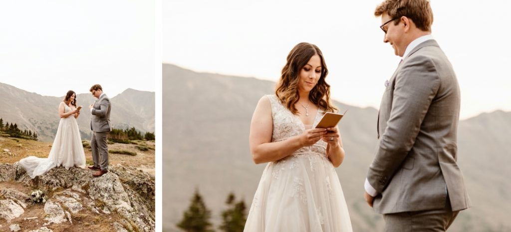 vow reading during a sunrise elopement ceremony near Keystone CO