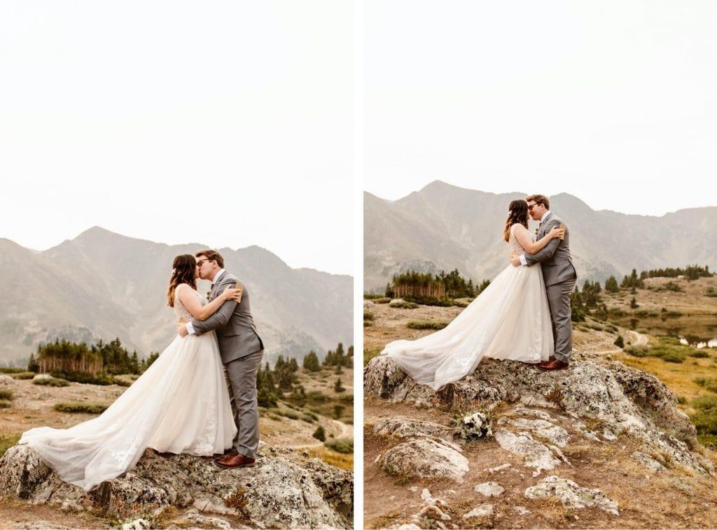 sunrise elopement first kiss