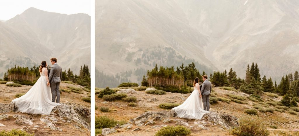 couple eloping in the alpine tundra near Keystone at sunrise