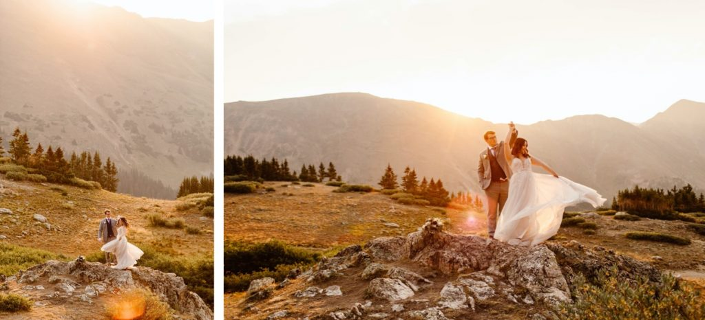 golden hour sunrise elopement photos