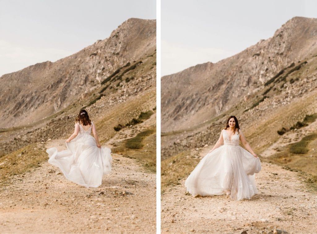 bride running down a trail