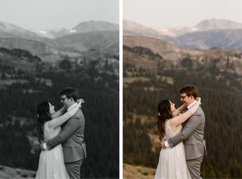 couple snuggling up together in the mountains after their sunrise elopement